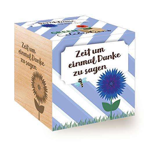 Feel Green Celebrations Ecocube, Kornblume Bio Samen, Holzwürfel Mit Lasergravur «Zeit Um Einmal Danke Zu Sagen», Nachhaltige Geschenkidee, Anzuchtset, Made in Austria