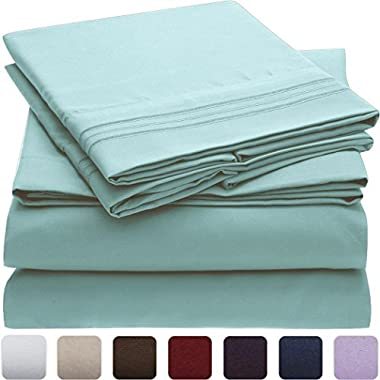 Mellanni Bed Sheet Set - Brushed Microfiber 1800 Bedding - Wrinkle, Fade, Stain Resistant - Hypoallergenic - 4 Piece (Queen, Spa Blue)