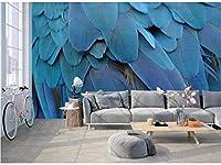 Bosakp リビングルームの壁画デカールのための3Dプリントブルーフェザー壁紙壁紙壁画 160X100Cm
