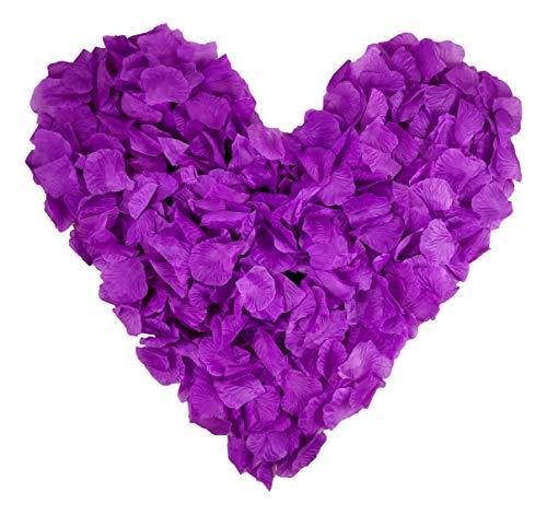 500 dunkel flieder farbene Rosenblätter, lila, violett, veilchen - Hochzeitsdeko, Valentinstag, Heiratsantrag, Streudeko, Basteln - Valentinsgeschenk, künstliche Blütenblätter (Flieder / Lila)