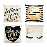 Decor MI Pillowcases Bronzing Flannel Throw Pillow Covers Gold Letter Lips Eyelash Pattern Square Pillow Cases Zipper Cushion Pillow Covers for Sofa Living Room Bedroom Home Decor,18x18 inch Set of 4