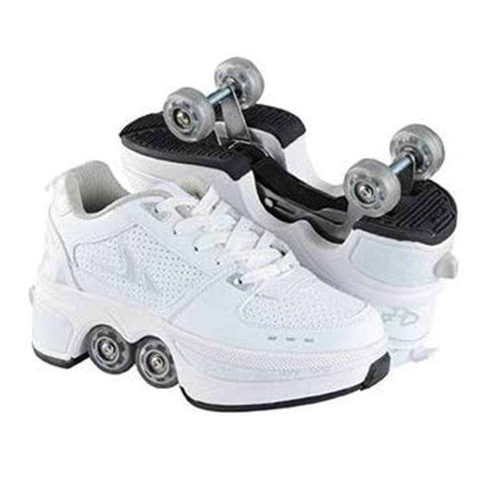 Zapatillas deportivas para principiantes, de doble fila, con polea de rueda, de patines, para caminar automáticas, invisibles, con rodillos de deformación, 41: Amazon.es: Deportes y aire libre