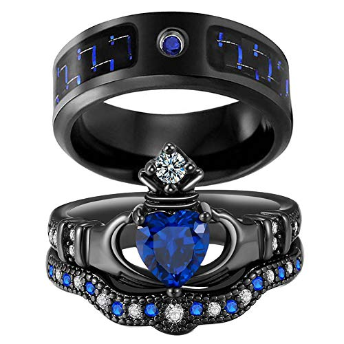 2 Rings His and Hers Couple Rings Bridal Sets Black Gold Filled Heart Blue Cz Womens Wedding Ring Sets Man Titanium Band Mens Ring