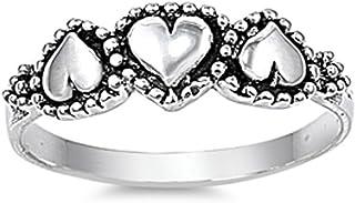 氧化串珠心形光环定情戒指新款 925 纯银戒指尺寸 3-13