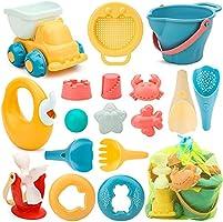 Sanlebi 17 Piezas Juguetes de Playa para Niños, Juegos Playa con Cubo Playa Palas Rastrillo Moldes de Arena, Niños...