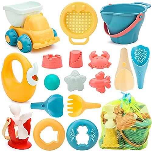 Sanlebi 17 Piezas Juguetes de Playa para Niños, Juegos Playa con Cubo Playa Palas Rastrillo Moldes de Arena, Niños Material Plastico Juguetes Arena