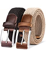Belt for Men,Woven Stretch Braided Belt 2 Unit Gift-boxed Golf Casual Belts,Width 1 3/8