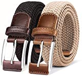 Belt for Men 2Units,Woven Stretch Braided Belt Gift-boxed Golf Casual Pants Jeans Belts,Width 1 3/8'