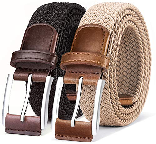 Belt for Men 2Units,Woven Stretch Braided Belt Gift-boxed Golf Casual Pants Jeans Belts,Width 1 3 8