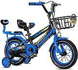 LIUXR Bicicletas Infantiles niña niño 3-9 años Freestyle 12 14 16 18 20 Pulgadas Ruedas auxiliares Bicicleta para niños,Blue_16inch