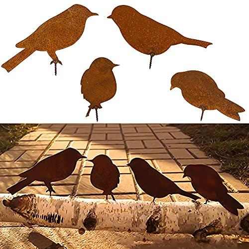 Rost Deko Edelrost Gartenstecker Metall Vogel Stecker Gartendeko Rostoptik mit Schraubgewinde für Garten Dekoration Vögel Set Rost Optik 4PCS