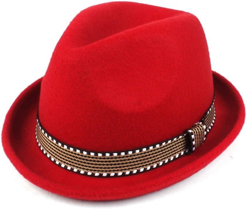 HHF Caps & Hats Fashion Waistband Elegant Jazz Hat, Wool Polyester Fedora Hat, Men Women Autumn Winter Sun Hat (Color : Red, Size : 58cm)