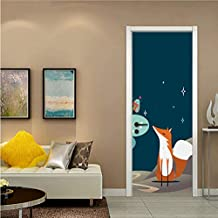 YFXGSTLI Anime Fox Forest Snow Night Door Pegatinas Autoadhesivas PVC Dormitorio Wallpapers 3D Creativo Decoración del Hogar Puerta Mural DIY Renovar Calcomanía 77X200Cm