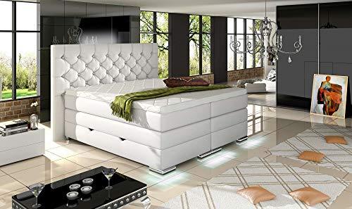 HG Royal Estates GmbH Mailand Designer Chesterfield Boxspringbett mit Bettkasten inkl. LED-Beleuchtung, Visco Topper, 7-Zonen Taschenfederkern, H3, Weiß Kunstleder Größe 180 x 200 cm