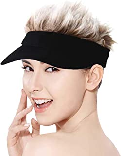Adjustable Sun Visor Hat with Wig Spiked Hairs Fashion Baseball Golf Cap for Men & Women