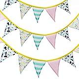 PF P a F e Juego de 4 banderines para habitación infantil, guirnalda de tela con 12 banderines para niños y niñas, decoración para cumpleaños