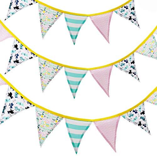 PF P a F e Banderines de tela con 12 banderines para habitación infantil, para niños y niñas, decoración para cumpleaños de 175 cm