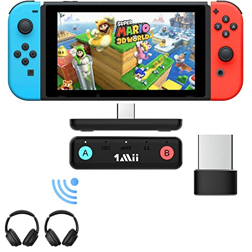 1Mii Adaptador Bluetooth para Nintendo Switch/ PC/ PS4/PS5, Transmisor Audio Bluetooth 5.0 USB, AptX de Baja Latencia Micrófono Incorporado para Dual Link Auriculares Bluetooth, Altavoces Bluetooth