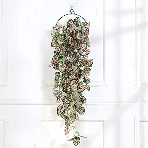 Artificial Flower Artificial Pink Hanging Plants 1Pcs Greenery Leaf Silk Fake Plant Decor Jungle Party Artificials Para Decoration 38 Inches