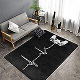 Heartbeat of A Gamer Area Alfombras ultra suaves y grandes alfombras antideslizante alfombra de piso acento alfombra Yoga Mat para sala de estar, dormitorio, habitación de los niños 152 x 99 cm