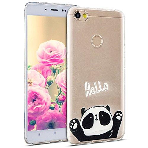 Uposao Kompatibel mit Hülle Xiaomi Redmi Note 5A Silikon Handyhüllen Bunt Muster Transparent TPU Silikon Handyhülle Durchsichtige Schutzhülle TPU Weich Tasche,Niedlich Panda