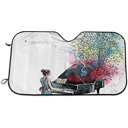 Teuwia Piano Muziek Vlinders Sier Pianist Draait Afbeelding Auto Zonnekap voor Voorruit Blok Zonneverblinding, UV en Warmte, Bescherm Auto Interieur. 147 x 118 cm.