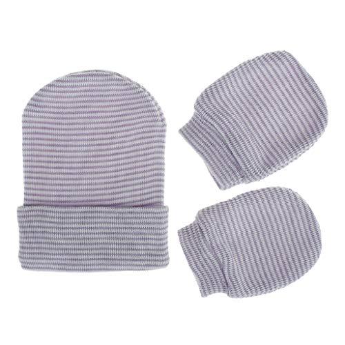 Njuyd - Juego de gorro y guantes para bebé, 2 unidades, antiarañazos, guantes de algodón suave, de una sola capa, protección contra arañazos, manoplas calientes, suministros para recién nacidos