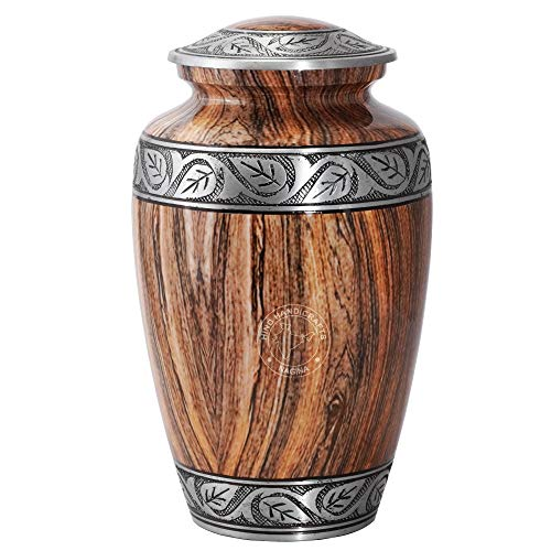 Hind Handicrafts Urna de cremación grabada en plata floral para cenizas humanas, adultos – urna de cenizas funerarias hecha a mano – Urna grande de columbario – bolsa incluida (madera marrón)