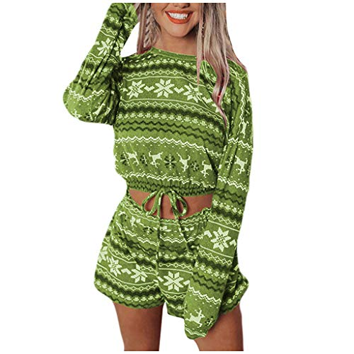 Christmas Women Pajamas Print Sets Leisure Wear Lounge Wear Suit Home Tops+Pants Green