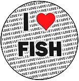 Decoración para tarta con texto 'I Love Fish', redonda, de 20 cm