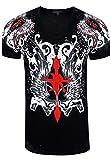 Rusty Neal - Camiseta extravagante de manga corta para jóvenes y hombres, con gran estampado, camiseta de verano, color negro Negro  S