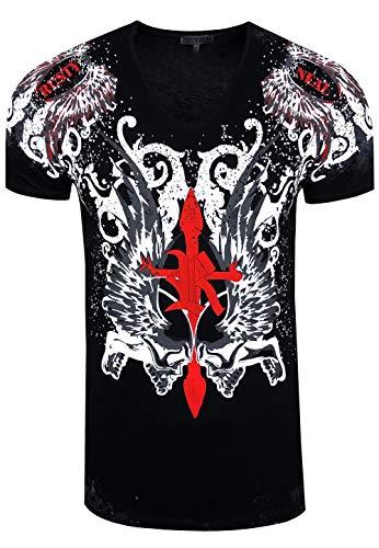 Rusty Neal - Camiseta extravagante de manga corta para jóvenes y hombres, con gran estampado, camiseta de verano, color negro Negro  L