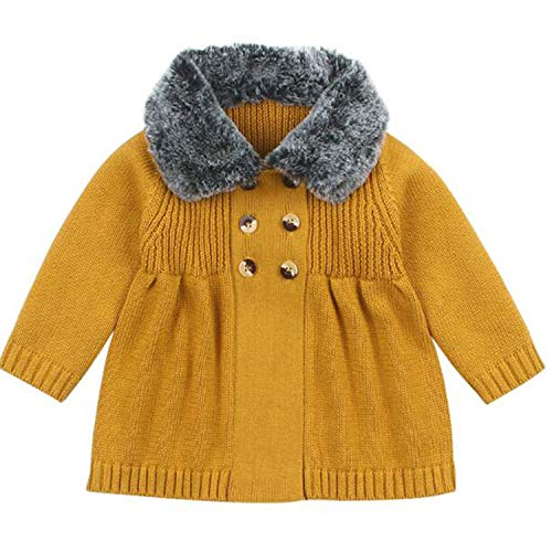 New Baby Sweater Boys Cardigan Autumn Winter Fur Collar Knitted Jacket Coat Toddler Kids Cardigan Yellow 82W508 24M