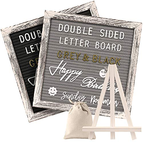 Tukuos Double Sided Felt Letter Board with Rustic Wood Frame,750 Precut Gold & White Letters,Months & Days & Script Cursive Words,Wall & Tabletop Display Decor (Gray/Black 10x10in (Easel))
