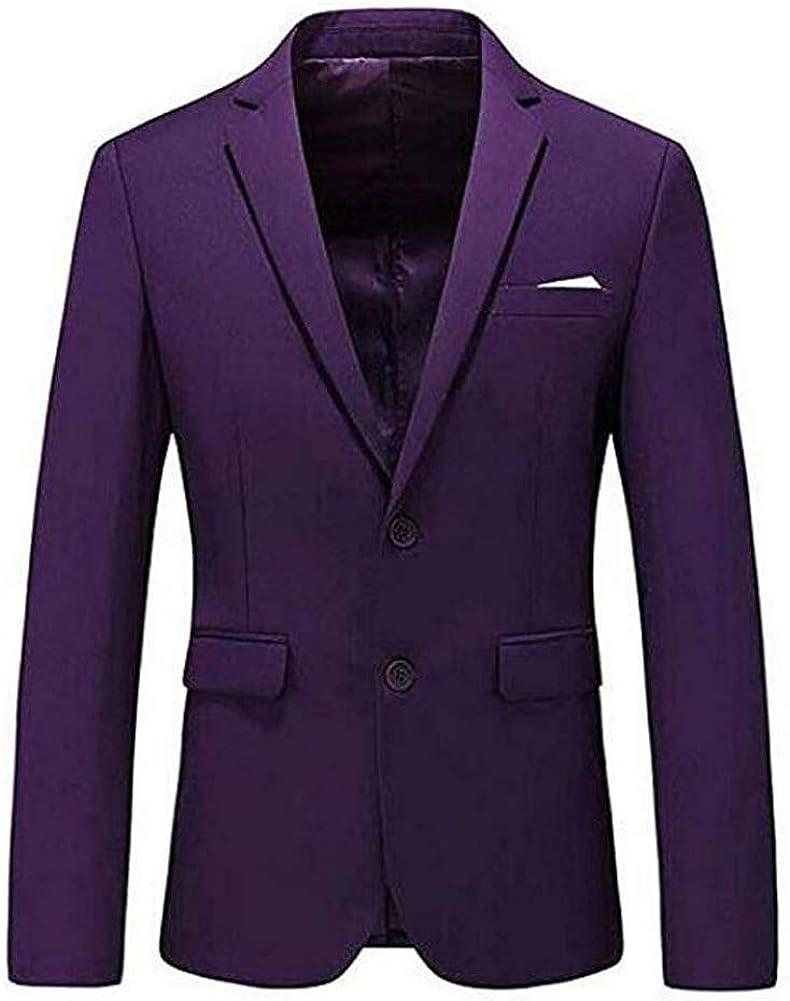 Men's Business Suit Jacket Blazer Two Button Slim Fit Wedding Tuxedo Jacket