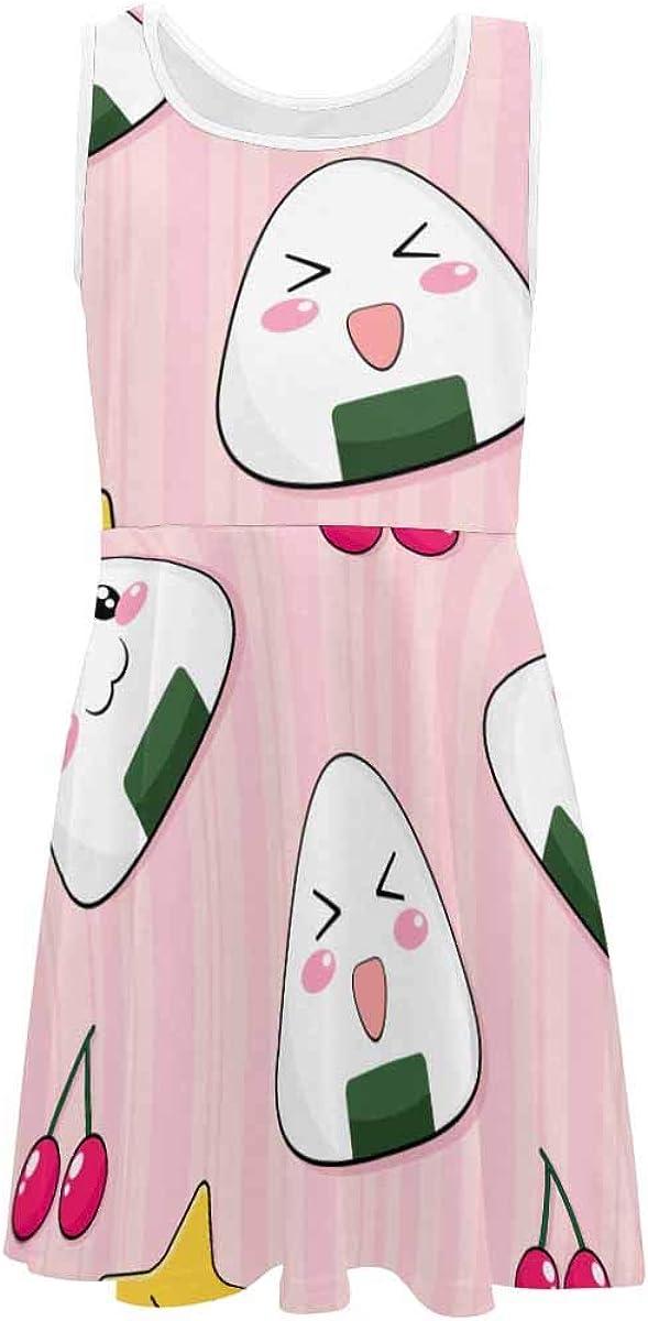 INTERESTPRINT Girls Summer Dress Sleeveless Printing Casual/Party 4-13 Years Cute Japanese Rice Balls 4T