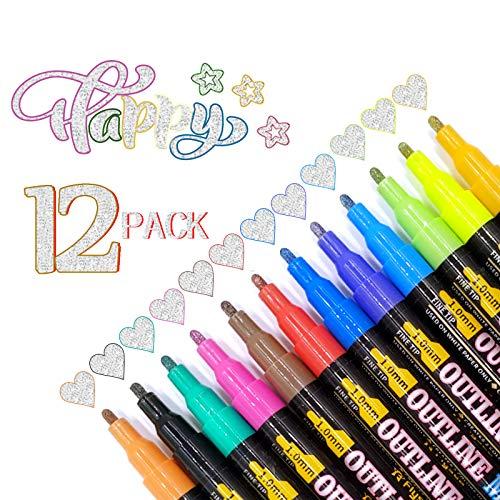 Rotuladores de doble línea, Dee Banna de 12 colores, rotuladores de contorno de dos líneas, bolígrafos de dibujo artístico, marcadores de dibujo de resaltadores, para tarjetas de felicitación
