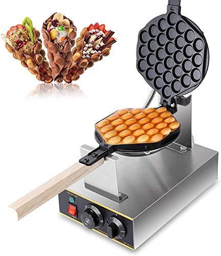 CO-Z Macchina per Waffle Elettrica con Rivestimento Antiaderente Piastra Waffle Elettrica Uovo Cialde Acciaio Inossidabile Ruotabile di 180 Gradi Bubble Waffle Maker