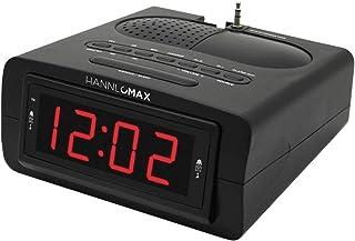 "HANNLOMAX HX-143CR Alarm Clock Radio, PLL AM/FM Radio, 0.9"" Red LED Display, Aux-in"