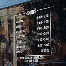 CELYCASY Store Hours Sign - Business Vinyl Decal Hours of Operation Sticker