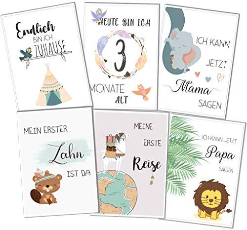 Baby Meilensteinkarten für Junge und Mädchen, als Geschenk zur Geburt/zur Babyparty für werdende Eltern. Mit 40 Karten können Mama + Papa Meilensteine im 1. Babyjahr einfangen + ihr Glück teilen
