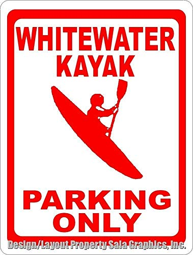HONGXIN Whitewater Kayak Parking Only - Placa de metal para decoración de bar, cafetería, hotel, oficina, dormitorio, jardín