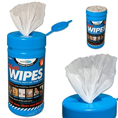 Bond-it Multiwipes - 1 tube of 80 large sheet wipes 200mm X 300mm. These sanitising hand wipes offer protection against MRSA and other bacteria. They are multipurpose, disposable & skin friendly. Builders and trades people use these as waterless cleaning