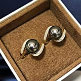 XTR Pearl Ring Fine JewelrySterling Silver Round 11-12mm Nature Sea Water Tahiti Black Pearls Rings for Women Presents