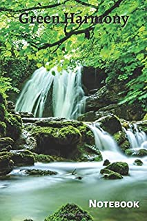 Classic Lined Notebook: Green Harmony, Journal for Writing, Waterfall in Forest Theme (Colorful Soft Cover, White Paper, 1...