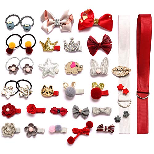 HOOMBOOM Baby Girl's Hair Clips, 36PCS Cute Hair Bows Baby Elastic Hair Ties Hair Accessories Ponytail Holder Hairpins Set For Baby Girls Teens Toddlers, Assorted styles (RGY)