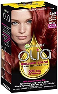 Garnier Olia Hair Color, 6.60 Light Intense Auburn, Ammonia Free Red Hair Dye (Packaging May Vary)