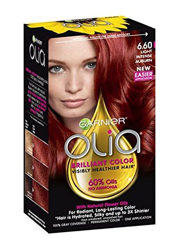 Garnier Olia Bold Ammonia Free Permanent Hair Color (Packaging May Vary), 6.60 Light Intense Auburn, Red Hair Dye, Pack of 1