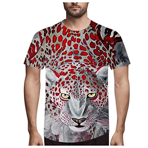 Yowablo Shirt Femme Elegant Shirt Femme Grande Taille T Shirt Tops Hommes Mode Nouveauté LéOpard 3D Imprimer O-Neck Blouse À Manches Courtes (3XL,1Argent)