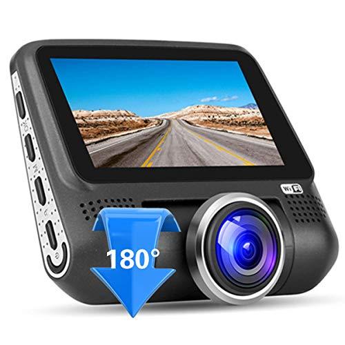 Dashcam,220 Gradi Grandangolare 1080P Full HD WIFI Auto Telecamera con Sony 323 Sensore,WDR Visione Notturna,Loop Recording,Rilevatore Movimento per Monitoraggio Atti Vandalici,Dash Cam,Black